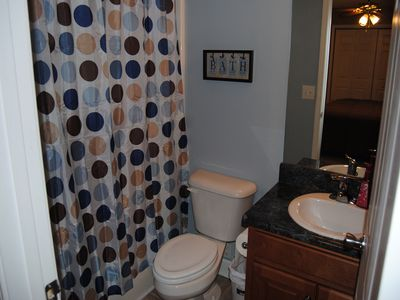 Full Bath located in King Bedroom upstairs