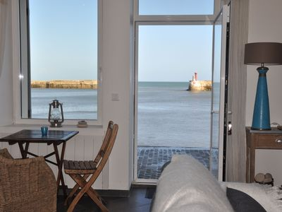 Photo for Seafront, exceptional sea view, charm, fireplace and luxury comfort, 100m2