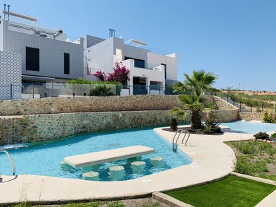 Photo for Modern apartment in San Miguel De Salinas, on the Costa Blanca, Spain  with communal pool for 8 persons