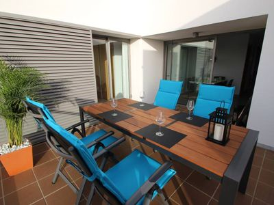 Photo for modern new apartment with central aircon, two large seaview-terraces, sunloungers, large common pool, own parking, only 400m to the beach, for 4 persons, with Wifi
