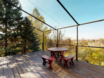 Photo for NEW LISTING! Mid-century home w/ a gas fireplace & large deck w/ beautiful views
