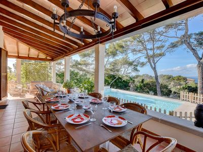 Photo for Villa Enderrocat with sea views, garden, lounge areas, and pool