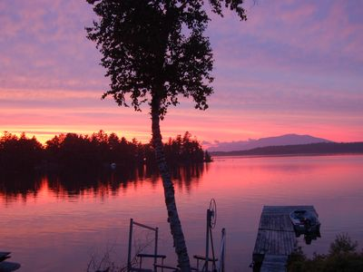 Photo for Spectacular Waterfront, Mountain view,  Private Maine Cabin