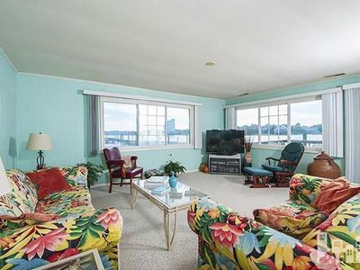 Photo for Best views!  Sound side home on water with boat docks, plus one block to beach!