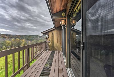 The vacation rental condo offers a private deck with great mountain views!