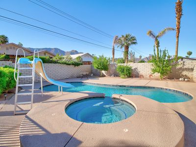 Photo for Dog-friendly desert escape with private pool, attached pool spa, & water slide