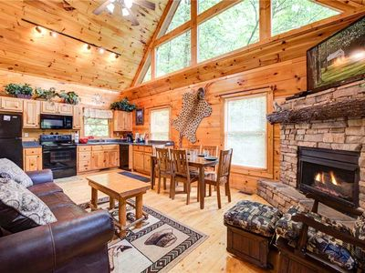 Photo for Cabin of Dreams, 3 BR, Water View, WiFi, Hot Tub, Pool Table, Sleep 8