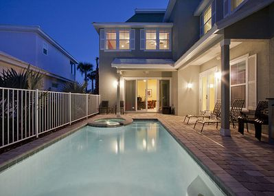 The private pool is only one of Camelot's luxuries - A 7-bedroom, 7-bathroom home just steps from the beach and the Atlantic Ocean, pet-friendly Camelot is rich with amenities: a heated pool, a hot tub, a home theater, and guest quarters.