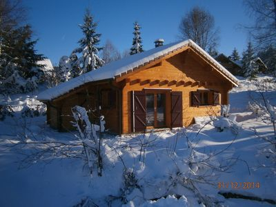 Photo for Pretty wooden chalet 2 star stay for all seasons