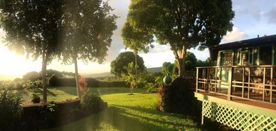 Panoramic sunset view from cottage lanai and grounds