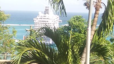 View of Cruise Ships from the porch