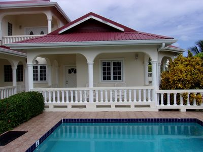 Pool with balcony in the background