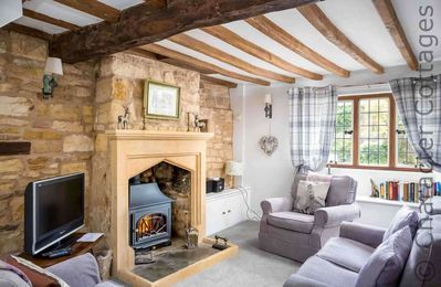 Beautiful living room, with a natural effect gas fire