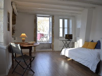 Photo for Studio 26 m2 very clear with large terrace, historic center of La Rochelle