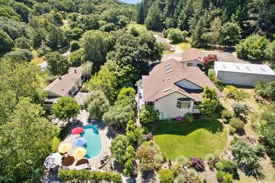 An aerial view of the property. Guests have the entire property to themselves