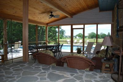 Huge screened porch overlooking POOL. Plenty of seating for the whole family