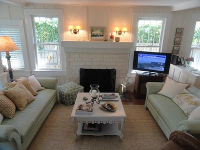 Comfy living area with flat screen tv
