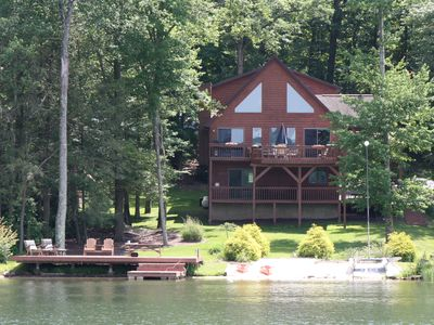 Photo for Lakefront, Pontoon for rent,  Hot tub ,Game Room, Fire pit, huge  deck, kayaks