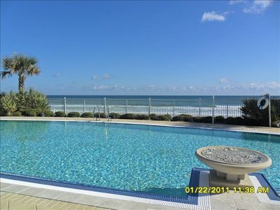 Heated oceanfront pool, lounges, chairs, hot tub and fire pit also oceanfront.