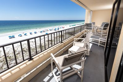 The balcony has doors leading to the master and living rooms - This makes a great second place to sunbathe or enjoy a drink or have a meal while overlooking the beach and Gulf.