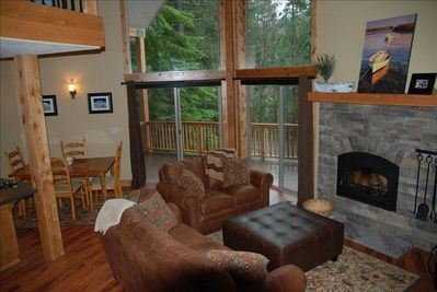 Living area with wood fireplace, TV
