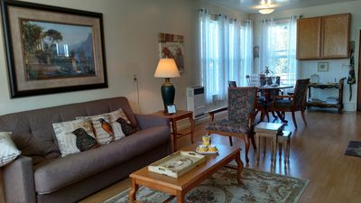 Very comfortable one bedroom apartment. Living room & Dining area view.