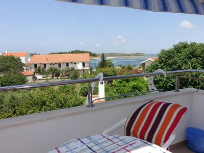 Photo for One bedroom apartment with terrace and sea view Nin, Zadar (A-5805-a)