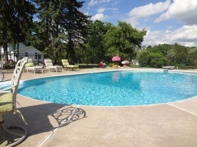 Heated in ground pool and patio area.