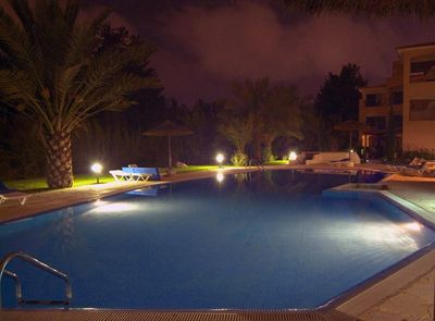 Paradise Villa Paphos Luxury pool at night Paradise Gardens 4 Cyprus
