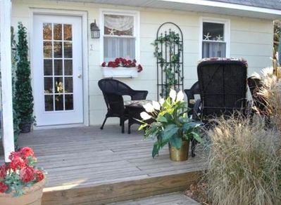 12 x 20 foot deck with BBQ, patio table and lounge chairs