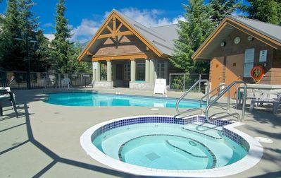 Heated pool and Large outdoor hot tub