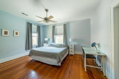 The blue bedroom has a king tempurpedic bed and lots of light.