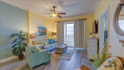 Photo for Gulf front two bedroom central Panama City Beah, Huge Balcony!