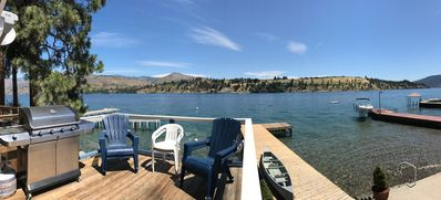 Photo for 2 Historic Cabins Right on Lake Chelan.  Lowbank with dock; sleeps 15.