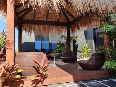 Photo for Luxurious Private Guest House in Bargara. Oceanfront Balcony & Bali Hut