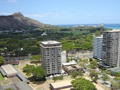 Panoramic  view from Diamond Head to the ocean.