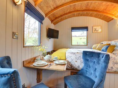 Photo for Caban Waen is a cosy Shepherd's Hut with wood burning stove, situated in a private, secluded setti