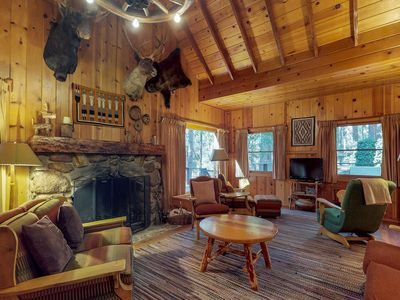 Photo for Beautiful lodge with two porches, wood-burning fireplace, & all-wood interior