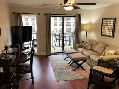 Comfortable living. Large Smart TV and enjoy beverages out on the balcony