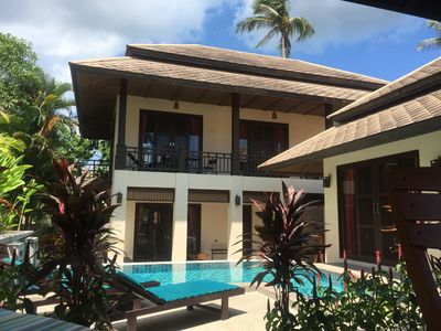 Large 4 bed villa with private pool, short walk to Maenam Beach