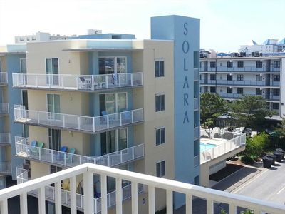 Building with elevated Pool Deck in rear