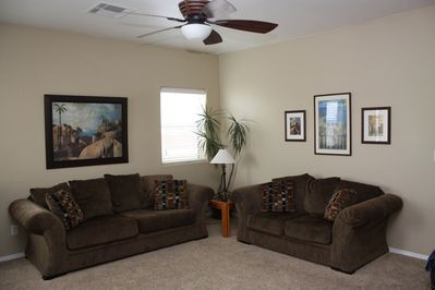 Living room with pull out sofa sleeper.