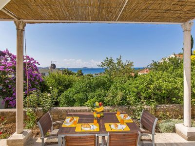 Photo for Two bedroom apartment with terrace and sea view Mlini, Dubrovnik (A-9043-a)