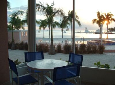Screened patio for relaxing, great sunsets