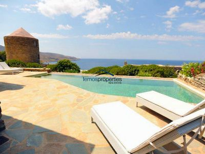 Photo for Stone built villa with a swimming pool and a fantastic sea view in Koundouros