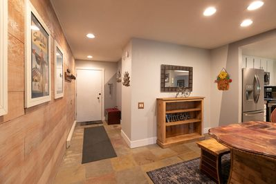 Lower level condo, 4 steps up before entering, and two steps down to living room
