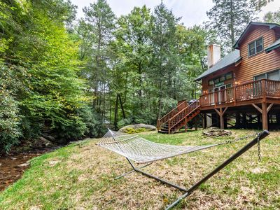 Photo for 2BR/2BA Creekside Cozy Cottage in Boone, Close to Attractions, Private Waterfall Picnic Area, Gas Fire Place, Fire Pit