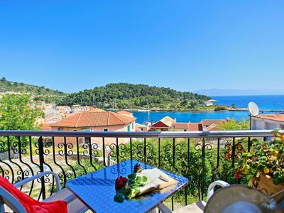 Photo for Avgi Apartment Dio: Renovated Paxos apartment inside Gaios, panoramic sea views