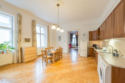 Large kitchen and dining room