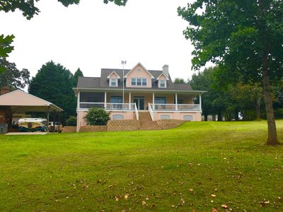 Photo for Stately 5br home on Lake Hartwell w/ fire pole!  Clemson home games available.